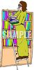 Cartoon of a Librarian Putting Away Books clipart