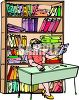 Librarian Sitting at Her Desk clipart