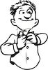 Black and White Guy Buttoning His Shirt clipart