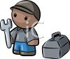 Little Character with a Toolbox and Wrench clipart
