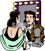 Actress Looking at Herself in the Mirror clipart