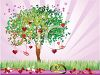 Tree of Love Growing on a Wedding Background with Hearts and Kisses clipart
