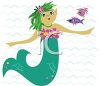 Cute mermaid under the sea with fish clipart
