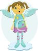 Cute little girl angel with angel wings clipart