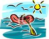 Inflatable Raft on the Ocean clipart