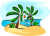 Tropical Island with Palm Trees  clipart