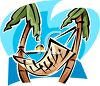 Hammock Stretched Between Two Palm Trees clipart