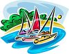 Catamarans in an Ocean Cove clipart