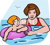 Little Girl Swimming with Her Mom clipart