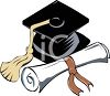 Graduation Cap with Rolled Diploma clipart