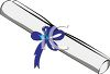 Diploma Rolled and Tied with Ribbon clipart