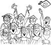 Cartoon of a Graduating Class at Graduation Ceremony clipart