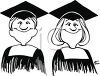 Graduation Cartoon of Twins in Cap and Gown clipart