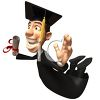 Happy 3D Graduate Holding His Diploma clipart