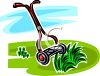 Manual Lawnmower Cutting Grass clipart