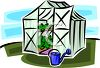 Cartoon of Plants Growing in a Small Greenhouse clipart