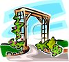 Wooden Archway Over a Driveway clipart