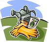 Watering Can with Gardening Gloves and Seeds clipart