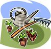 Watering Can with a Rake and Seedlings clipart