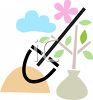 Planting a Bush or Tree with a Spade clipart