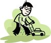 Cartoon of a Guy Mowing a Lawn clipart