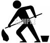 Silhouette of a Janitor Mopping a Floor clipart