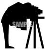 Silhouette of a Photographer Under a Drop Cloth Taking a Picture clipart