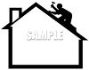 Silhouette of a Man Putting Shingles on a Roof clipart