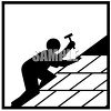 Silhouette of a Figure Roofing a House clipart