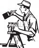 House Painter on a Ladder clipart