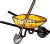 A Wheelbarrow With A Shovel clipart
