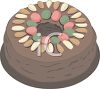 Chocolate Cake Decorated with Nuts and Candies clipart