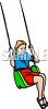 Girl with Braids Swinging clipart