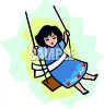 Girl Playing on a Swing clipart