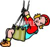 Cartoon of a Little Blond Child on a Swing clipart