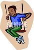 African American Boy Swinging clipart