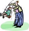 Dad Pushing His Daughter on a Swing clipart