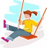 Girl with a Pony Tail on a Wooden Swing clipart