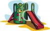 Playground Toys-Elaborate Slide with Climbing Wall clipart