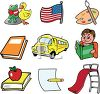 Collection of School Related Icons clipart