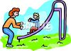 Mom and Her Little Girl Playing at the Park clipart