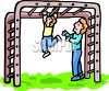 Little Girl on the Monkey Bars While Her Mom Watches clipart