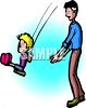 Dad Pushing His Son on the Swings clipart