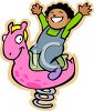 Happy Black Child on a Bouncy Horse at the Park clipart