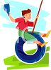 Boy on a Tire Swing clipart