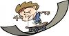 Cartoon Character Kid Riding a Skateboard clipart