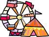 Circus Big Top and Ferris Wheel clipart