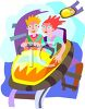 Teens Riding a Carnival Roller Coaster clipart