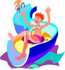 Kids on a Water Slide clipart