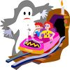 Kids on a Haunted House Ride at a Carnival clipart